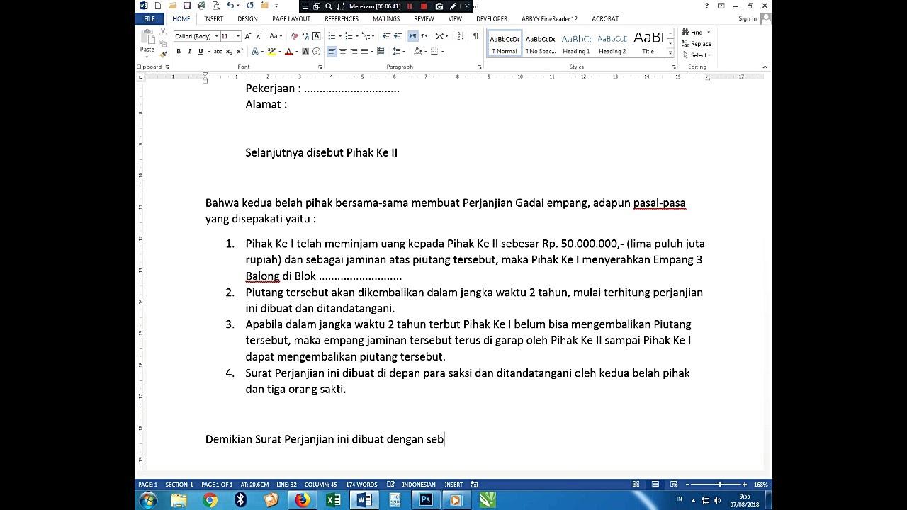 Tutorial Membuat Surat Perjanjian Gadai Empang
