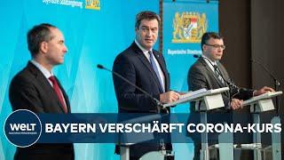 Markus söder (csu), parteivorsitzender und ministerpräsident von bayern, spricht nach einer kabinettssitzung zur weiteren entwicklung in der corona-pandemie ...