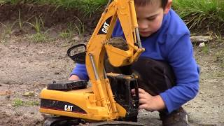 Toy Trucks for Kids: Bruder Construction Trucks: CAT Excavator JCB Backhoe Digging in Mud