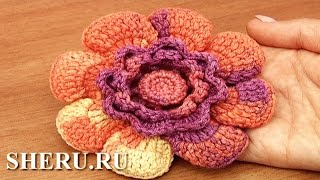 Crochet Button in Center 3D Flower Урок 95 Крючком вязаный цветок