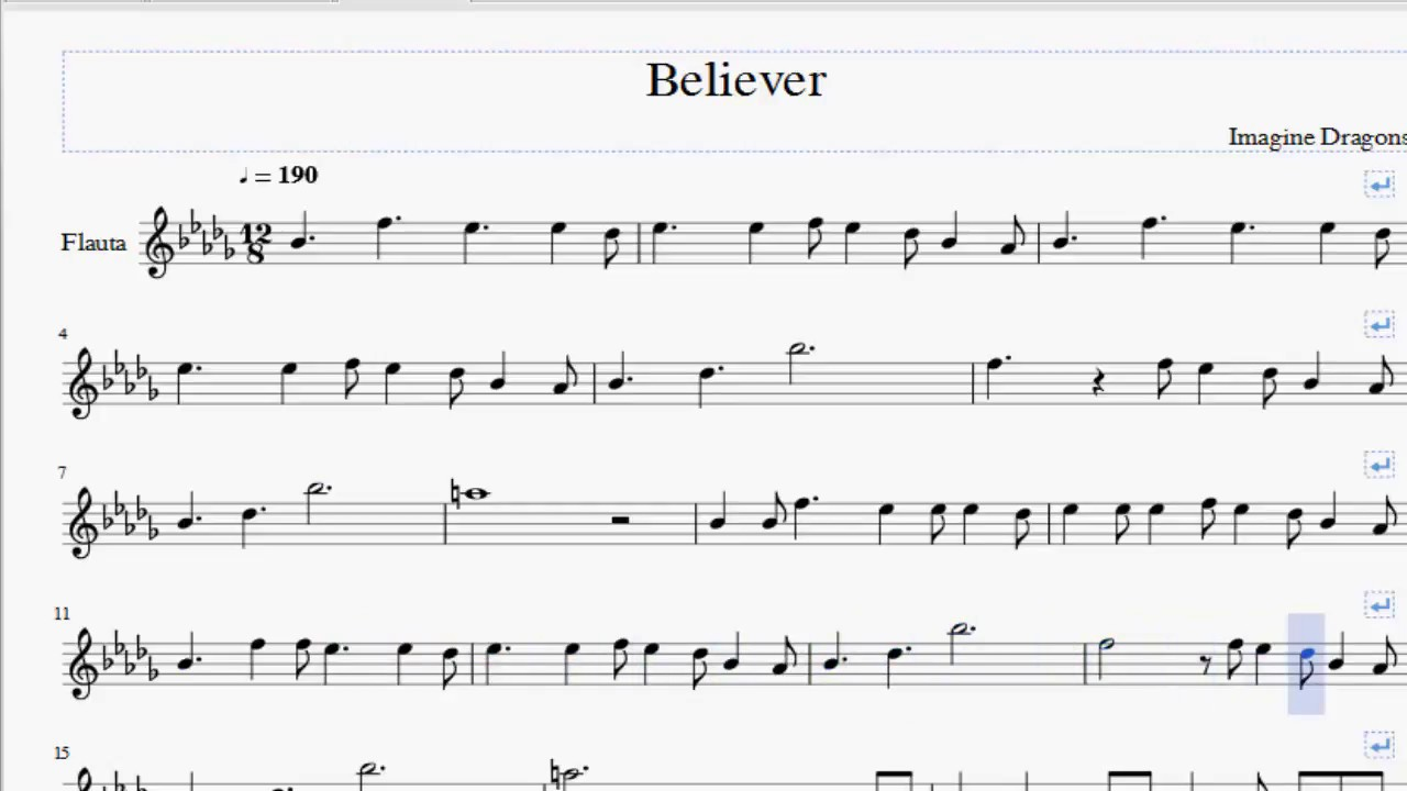 believer imagine dragons flute sheet music