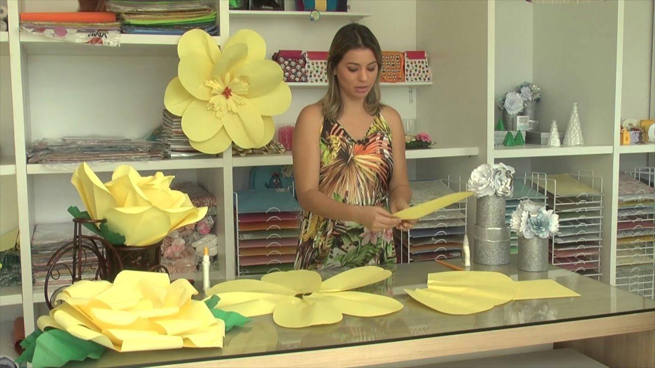 Rosas gigantes de papel como fazer youtube - Www como hacer flores com ...