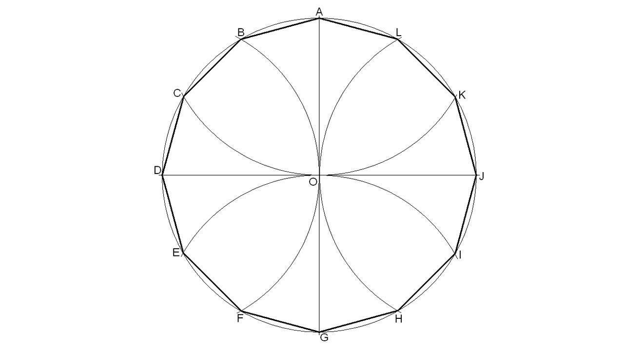 How To Draw A Dodecagon 12 Sided Polygon Inscribed In A Given