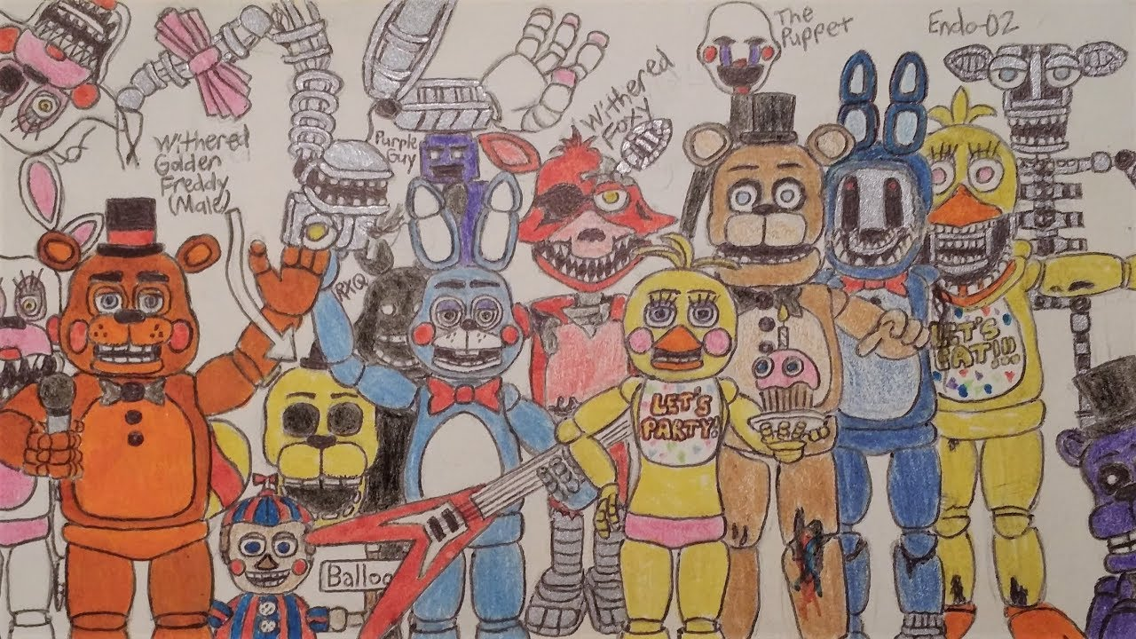 Fnaf 2 Drawings fnaf drawing - five nights at freddy's 2 - withered animatronics, toys,  shadows, etc.