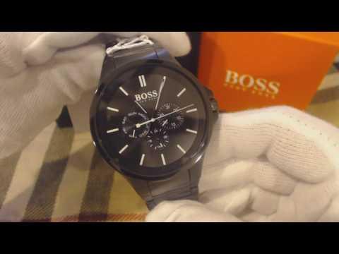 d93a6217750e3d Men's Black Hugo Boss Multi Function Stainless Steel Watch 1513172 - YouTube