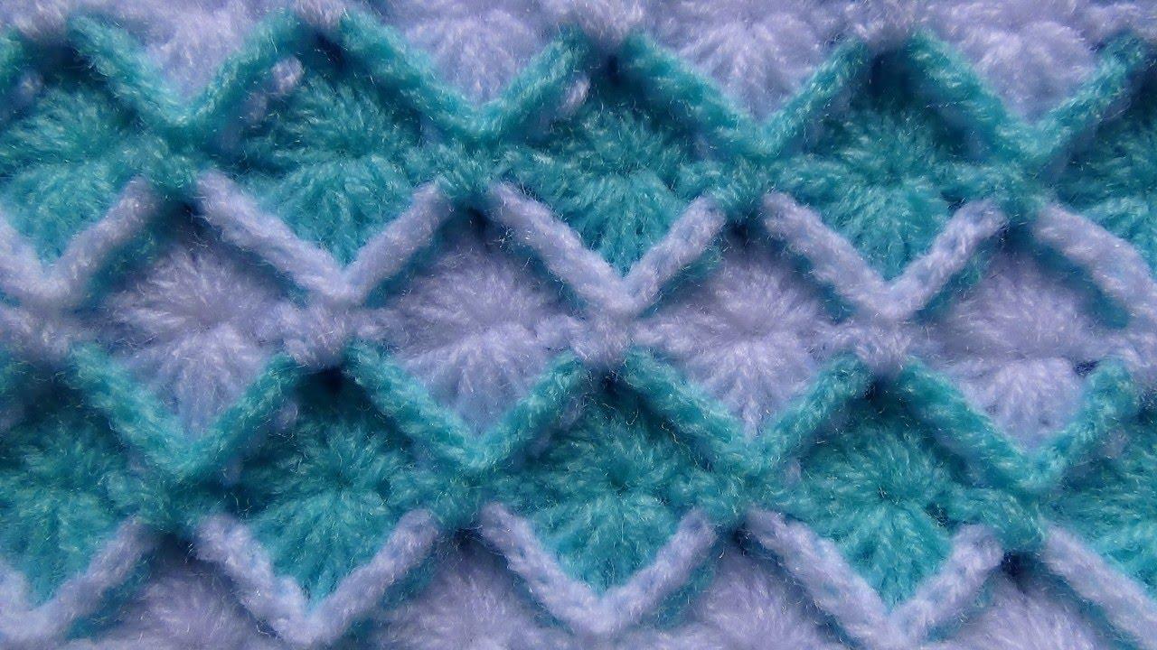 Punto a crochet ROMBOS EN RELIEVES paso a paso para gorros y ...