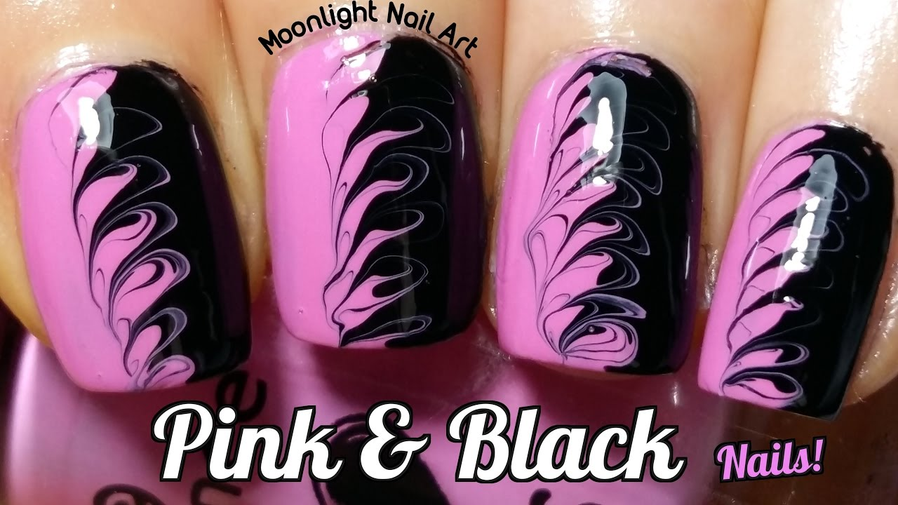 Drag Dry Marble Nail Art in Pink & Black - Needle Tutorial - YouTube