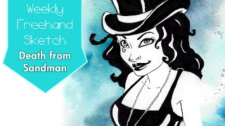 Death from Sandman Comic Book - Fan Art Speed Sketch Painting