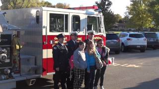 "Pces Winners Of The ""home Fire Escape Plans"" Contest Ride To School In A Fire Truck - 2012"