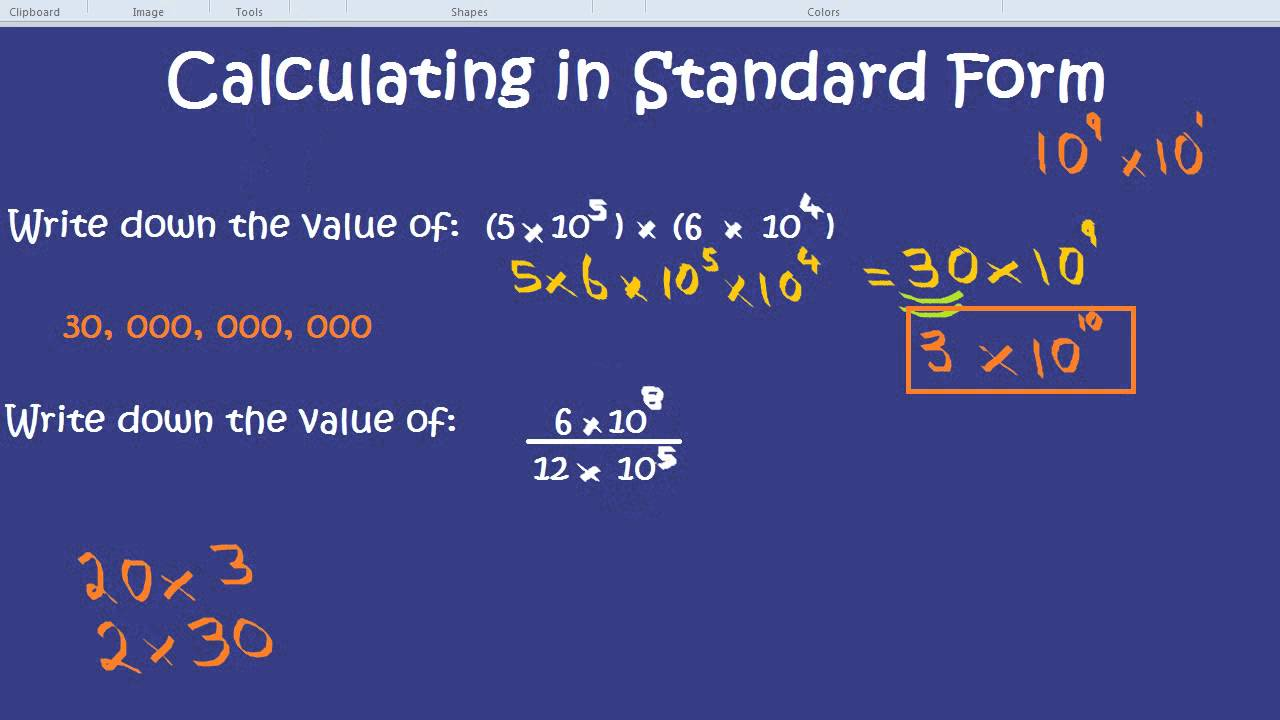Calculating in standard form youtube falaconquin