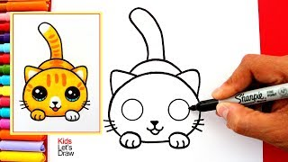 Aprende a dibujar un GATO KAWAII fácil | How to Draw a Cute Kitten Easy