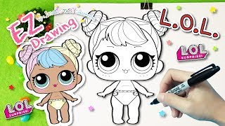 L.O.L.Surprise Doll Baby:Lil Bon Bon★HOW TO DRAW★EP#26💎Series 3💎Coloring Pages♥Tutorial For Kids♥