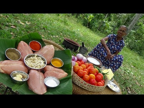 Chicken Breasts With Tomato And Cashew Nuts For Dinner By Grandma | Village Life