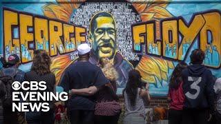 Artists create 20-foot-wide mural to commemorate George Floyd