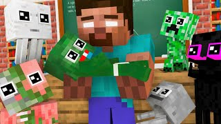 Monster School : BABY MONSTER & HEROBRINE PLAY CHALLENGE - Minecraft Animation
