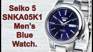 Seiko 5 Snka05k1 Stainless Steel Band Automatic Men's Blue Watch. Unboxing