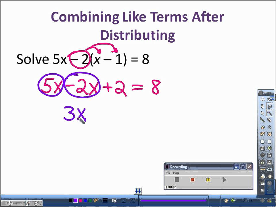 32 Solving Equations Using the Distributive Property and – Combining Like Terms Equations Worksheet