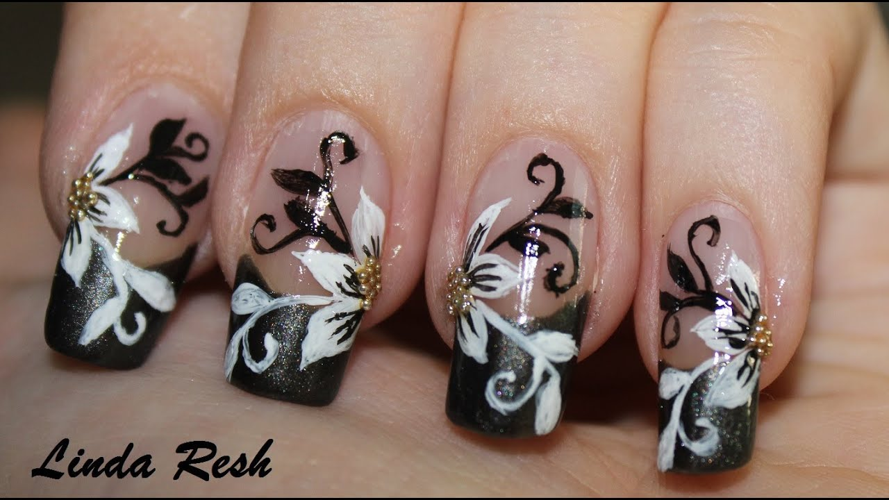 Nail design - Flower with black & white swirls. Nail art. - YouTube