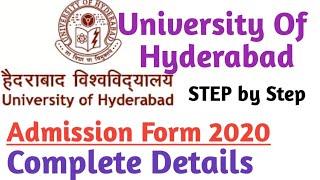 HYDERABAD UNIVERSITY ADMISSION FORM 2020 || UNIVERSITY OF HYDERABAD ADMISSION PROCESS 2020