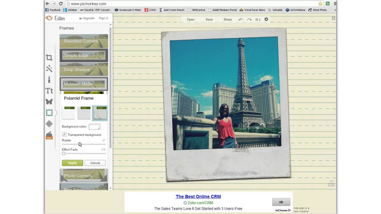 Create a Polaroid Picture Frame using Picmonkey
