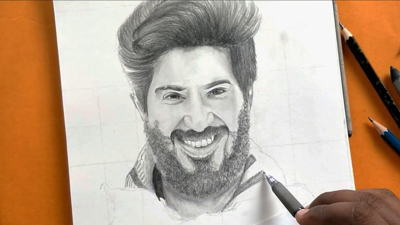 Pencil drawing of dulquer salmaan