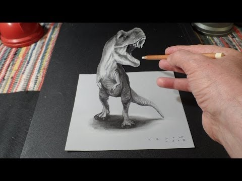 3D Drawing T-Rex - How to Draw 3D Tyrannosaurus Rex