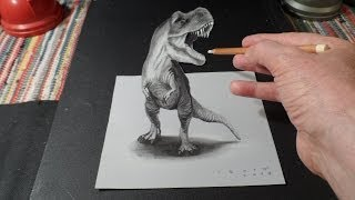 Trick Art, Drawing 3D T-Rex, Time Lapse