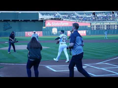 House of David baseball player 84 year-old Ron Aiken - First Pitch