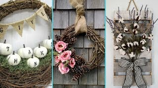 Diy Shabby Chic Style Fall Wreath Decor Ideas