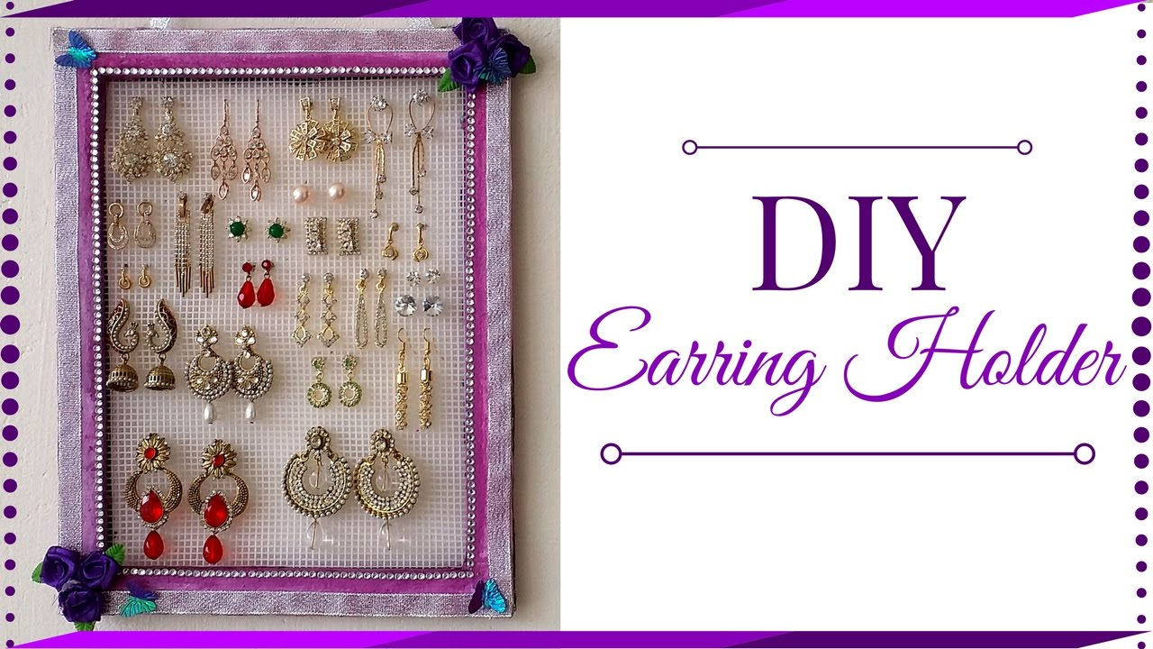 Diy Earring Holder Jewelry Using Cardboard Best Out Of Waste