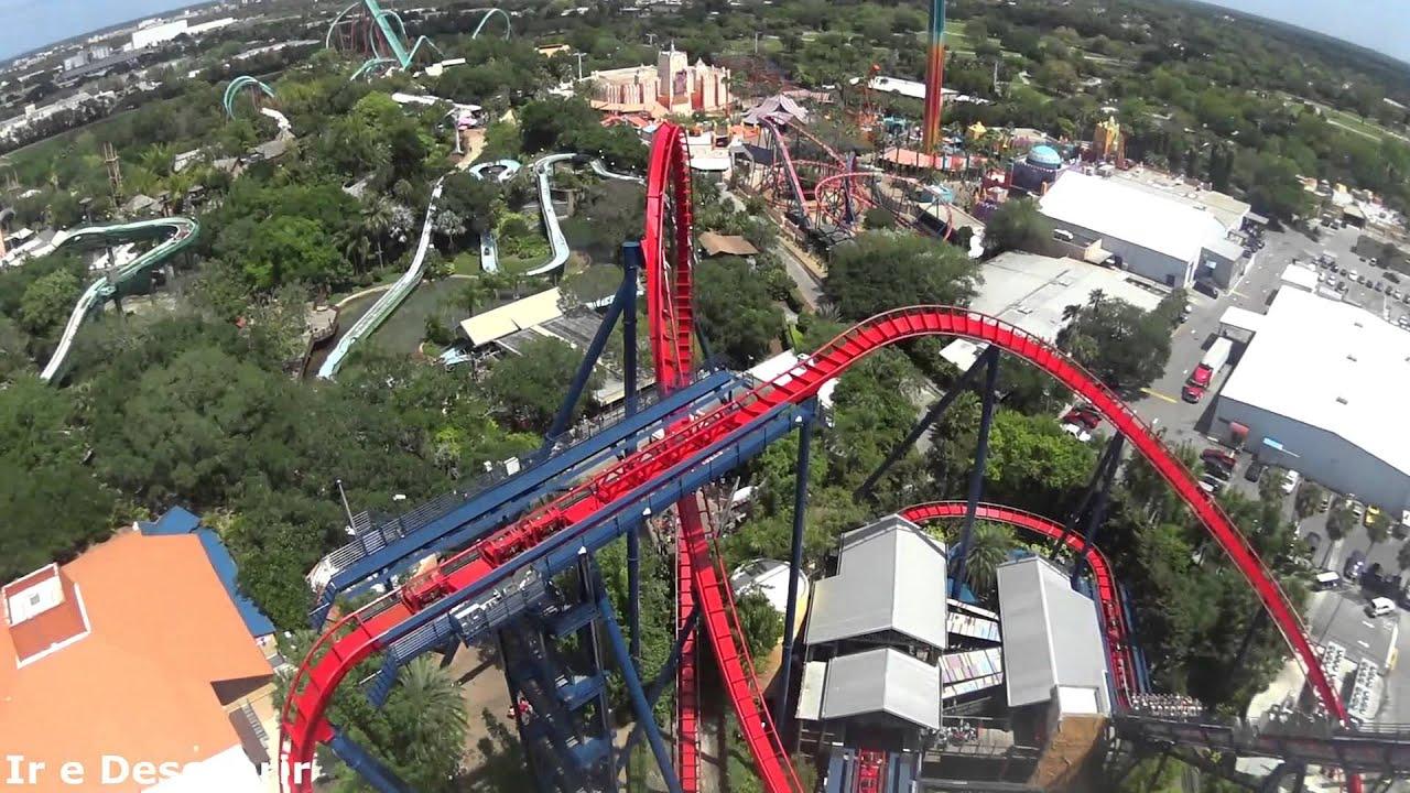 Montanha Russa Sheikra No Busch Gardens Vis O Frontal Front Seat Pov Youtube