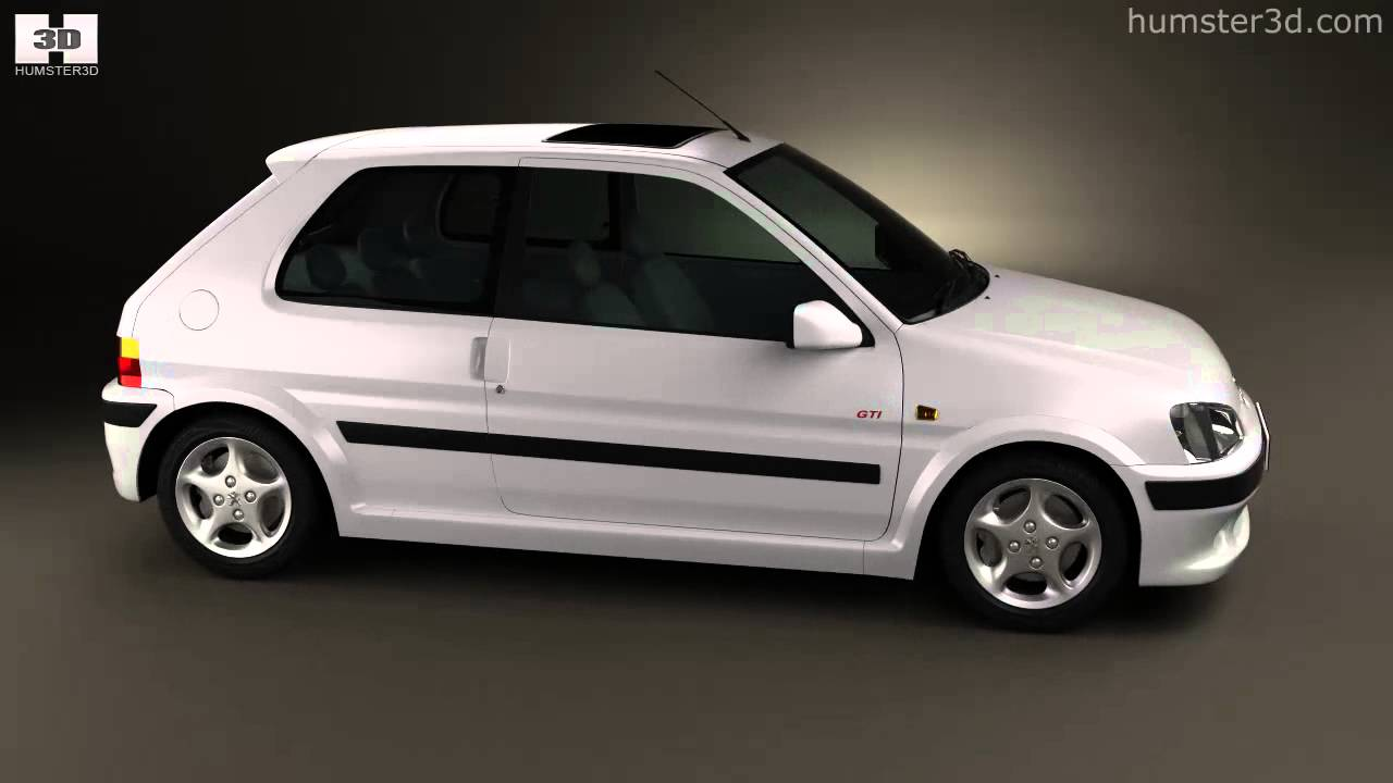 peugeot 106 gti 3 door 1997 by 3d model store humster3d