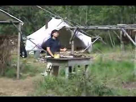 Athabascan preparing salmon