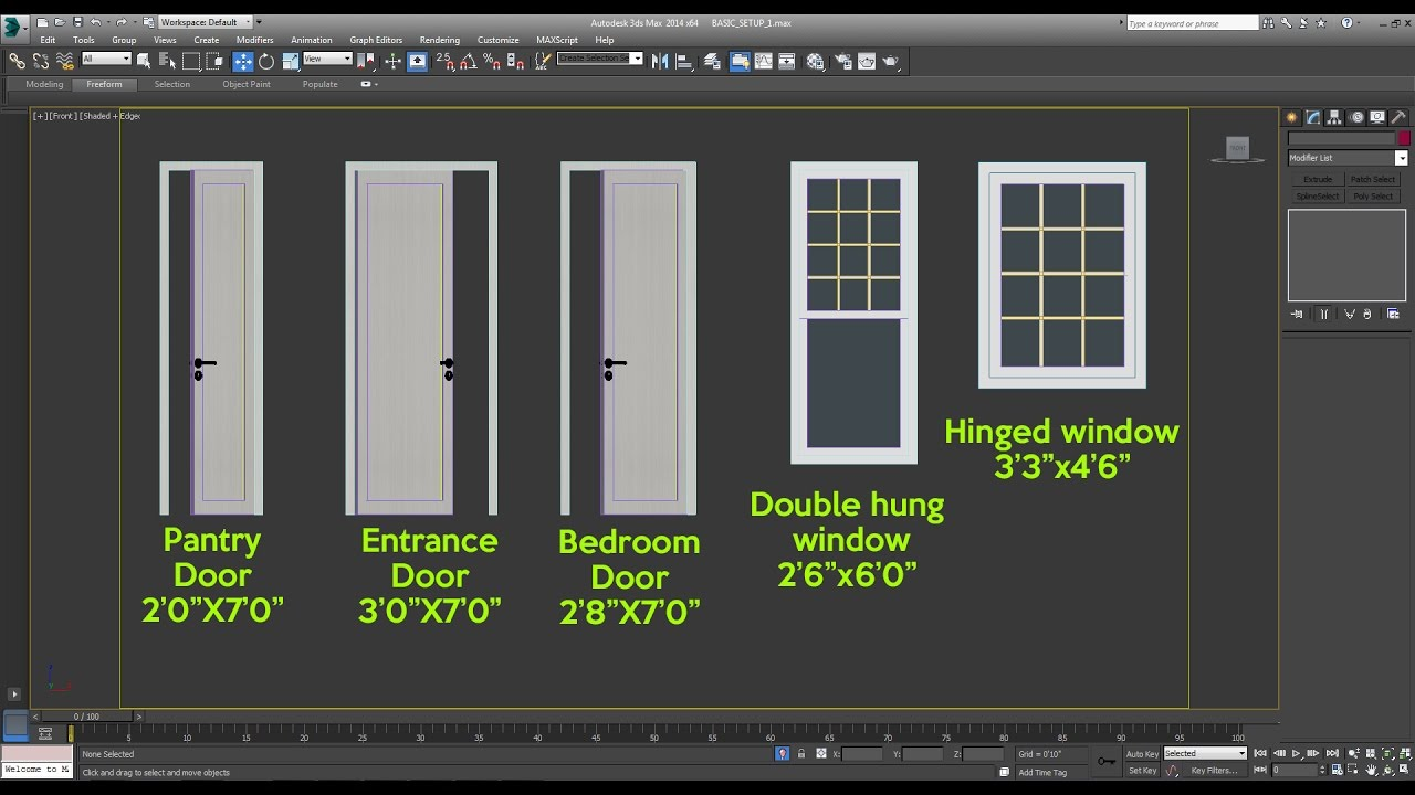 How To Draw The Front Elevation Of A Building : How to creat doors and windows in d max youtube