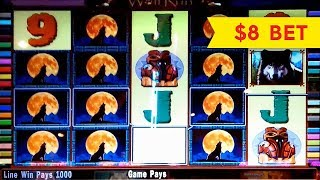Wolf Run Slot Machine $8 Max Bet *LIVE PLAY* Bonus and BIG WIN! (2 videos)