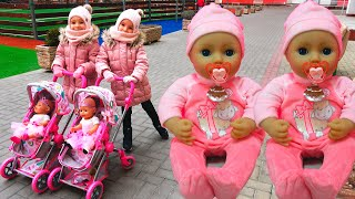 Kids Xenia and Arina play with baby doll Nastya - Kids Stories