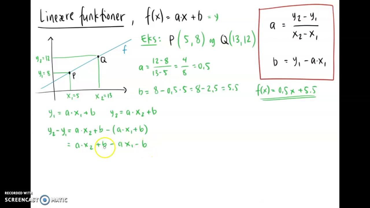 lineær funktion - bevis for a og b