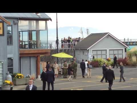 Royal Couple leaving Breakwater cafe Victoria BC 2016 Prince William quick nose with hand