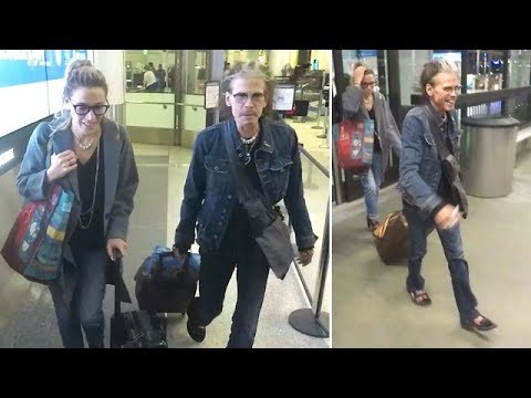 Aging Rocker Steven Tyler Touches Down At LAX With His 29-Year-Old Girlfriend