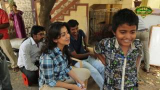 Nikki Galrani on the sets of Maragatha Naanayam produced by Axess Film Factory