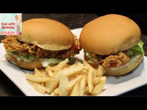 Zinger Burger Recipe By Madeeha How To Make Crispy Chicken Burger At Home Youtube