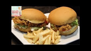 Zinger Burger Recipe by Madeeha - How To Make Crispy Chicken Burger At Home
