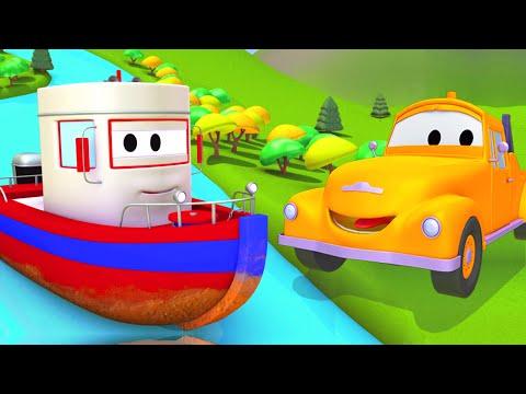 Tom o Caminhão de Reboque e o Barco na Cidade do Carro | Desenhos animados crianças