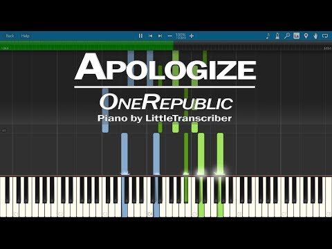 OneRepublic - Apologize (Piano Cover) Synthesia Tutorial By LittleTranscriber