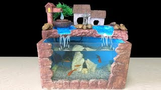 DIY Aquarium Setup Decoration For Goldfish Guppy - How To Make Fish Tank Fountain Waterfall