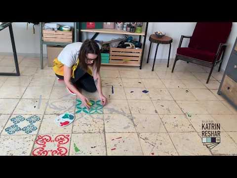 Перекраска керамической плитки красками Дарьи Гейлер