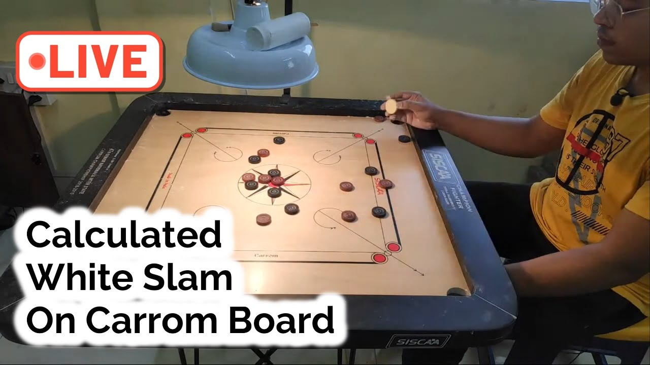 This One Was Recorded in YouTube Live | Perfect & Calculated White Slam on Carrom board |