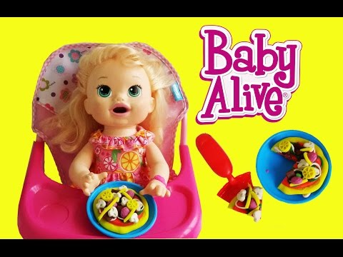 BABY ALIVE SNAKIN SARA EAT PIZZA PLAY DOH WITH DIFFERENT COLORS