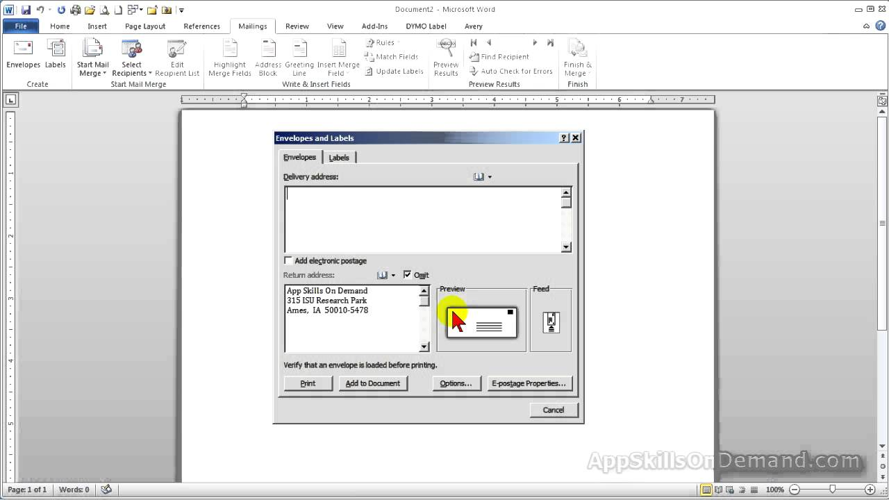MS Word Lesson 2   Setting Up A Return Address For Your Envelopes In Word  2010.   YouTube  Address Template Word