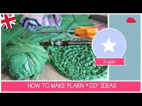 Tutorial how to recycle plastic bags making PLARN (Plastic Yarn) - DIY Recycling Ideas